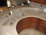 Curved concrete sink